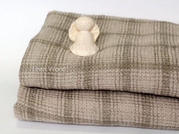 Linen Bath Towel. 100% Linen Waffle Weave Bath Towel, Checkered Bath Sheet. Organic / Natural Sauna / Yoga Towel.
