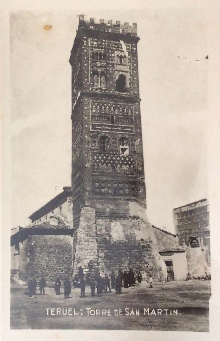 Torre mudéjar de San Martín, Teruel. Fotopostal de principios del siglo XX.
