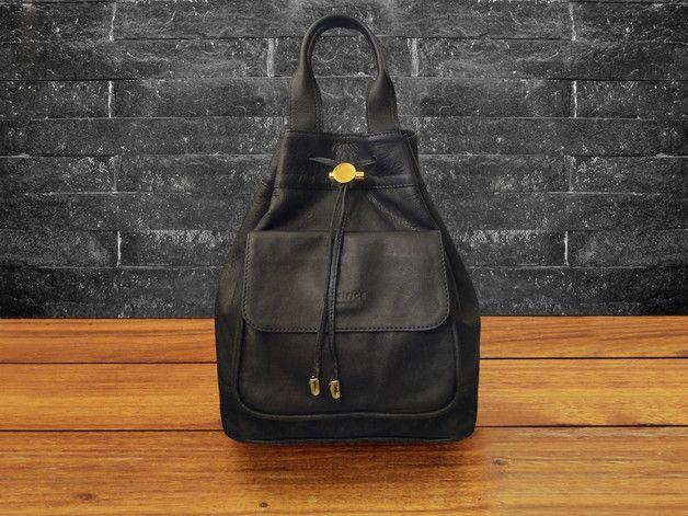 Great gift for sister. Backpacks – Minimalistic BACKPACK MILANO Black – a unique product by artificehandmade via en.DaWanda.com