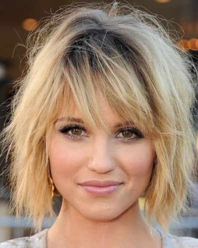 This season has a ton of low maintenance and super cute messy short hairstyles to choose from. Dianna Agron with a choppy bob hairstyle with bangs.