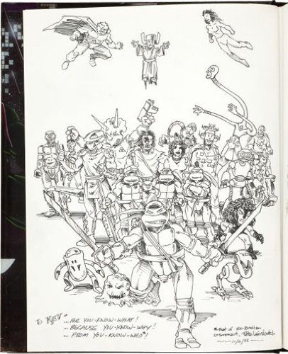 Kevin Eastman's personal copy of Teenage Mutant Ninja Turtles Limited Vol. 1 with Original Art by Peter Laird and Others. Masters: Kevin Eastman, Peter Laird. Authenticity Backed by a Lifetime Moneyback Guarantee. Authenticity guaranteed for life by Collector's Shangri-La. This one's numbered 1/1000 for a reason: it's Kevin Eastman's personal copy. Board of Trustees, Manuscript Society. Kevin Eastman is the co-creator of the wildly successful Teenage Mutant Ninja Turtles.