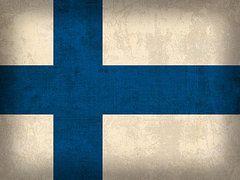 Finland Flag Art - Finland Flag Vintage Distressed Finish by Design Turnpike