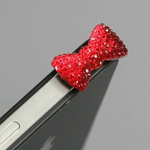 Red / Earphone jack accessory / Bow Dust Plug / Ear Cap / Ear Jack For iPhone / iPad / iPod Touch / 3.5mm (7232-4) $1.95 #bestseller