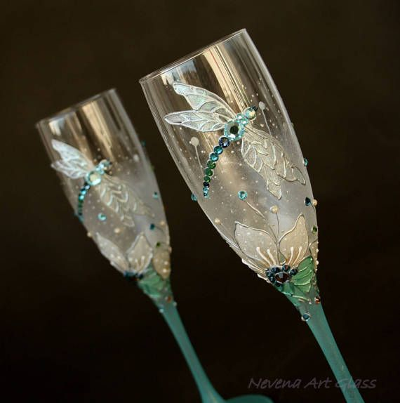 Wedding Glasses Toasting Champagne Flutes Wine Glasses HAND