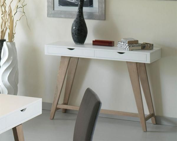 Miro modern console table with 2 drawers in white or - Contemporary console tables with drawers ...