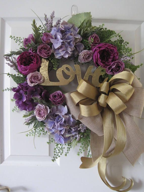 LOVE Valentine Wreath, Purple Violet, Lavender, Roses, Hydrangeas, LOVE Sign, Gold Ribbons, Front Door Wreath, Valentine Decoration, Handmade Floral Wreath, Custom Floral Wreath, Home Décor, Floral Décor. Here we have a lovely wreath for Valentines Day or for a wedding, featuring a