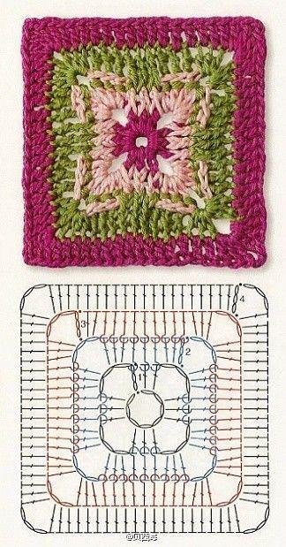 Tecendo Artes em Crochet: Quatro Squares Lindões com seus Gráficos!