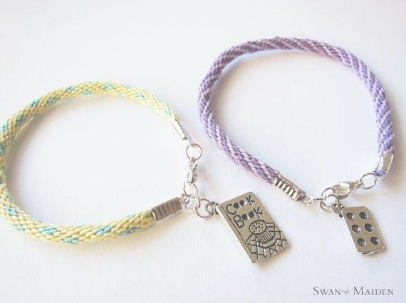 Friendship Bracelet - Cook Book Charm - Pastel Yellow Turquoise Bracelet. Great gift idea for Pastry lover! Baker Collection