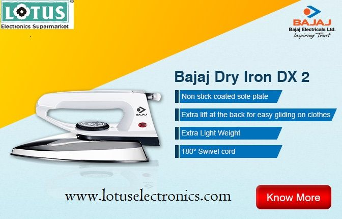 Good news now Electronics Online Shopping India is going to be very easy you just need to click on the products and it will on your hand.Buy our latest Bajaj Dry Iron to fulfill your need. from India's leading online Electronics shopping store Lotus Electronics.