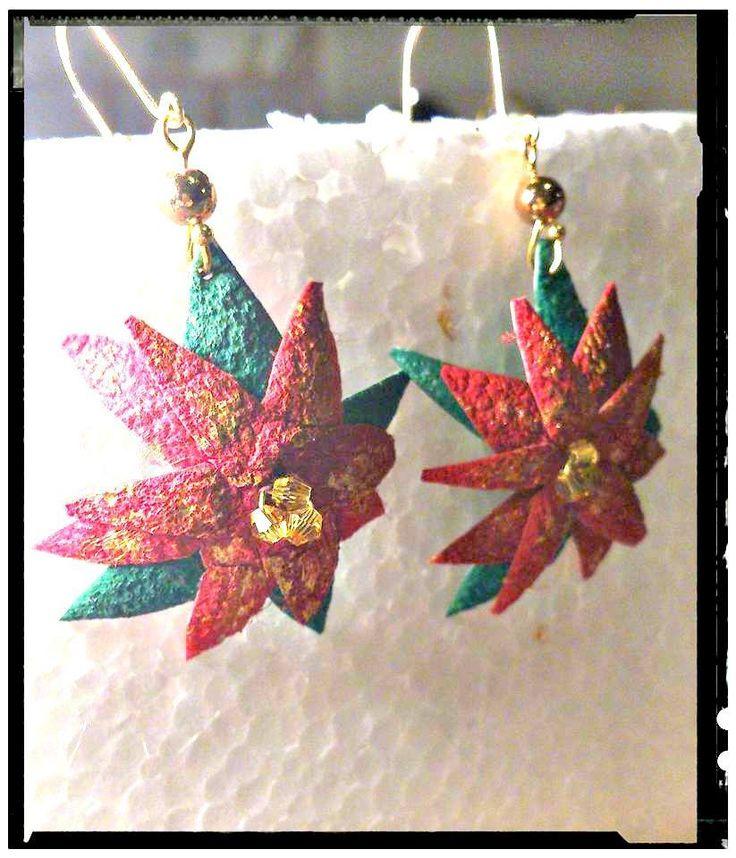 1  silk cocoon handmade poinsettia earrings /get in the mood /Christmas jewelry/OOAK/ seasonal gift for her by SueEllenDreamland on Etsy