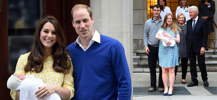 of Cambridge and Prince William, Duke of Cambridge leave the Lindo Wing at St. Mary's Hospital with their new born baby daughter. (R) Chelsea Clinton leaves Lenox Hill Hospital with her baby, Charlotte, husband Marc and parents, Bill and Hillary Clinton.
