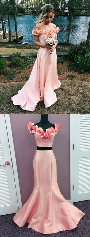 prom dress,prom dresses,Off Shoulder Appliques Satin Mermaid Prom Dresses,Mermaid Prom Dresses,Two Piece Prom Dress,Fashion Prom Dress With Floral Flower,Sexy Party Dress Long,Custom Made Evening Dress