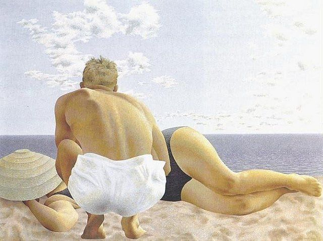 Couple on Beach, 1957 - Alex Colville - Casein tempera on masonite. National Gallery of Canada