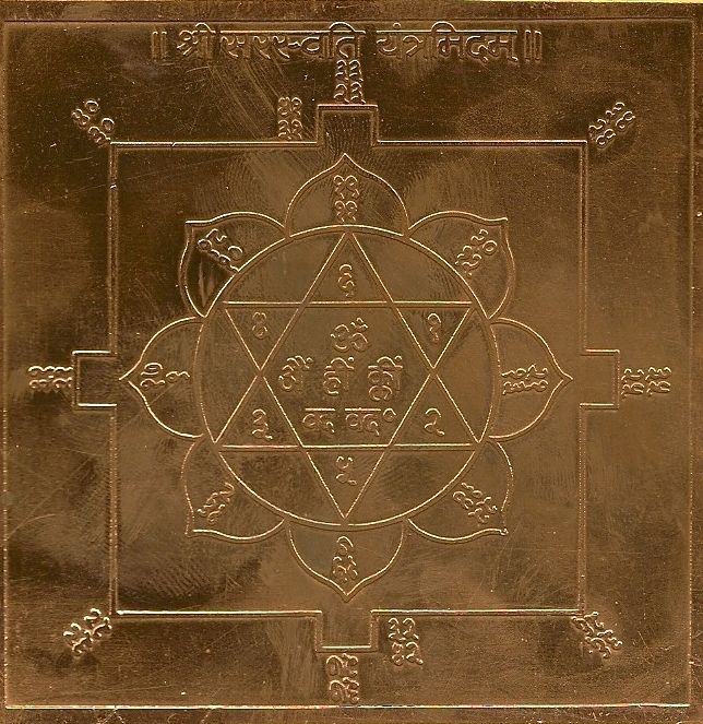 Copper Sri Saraswati Yantra - Goddess of Wisdom and the Arts - Yantras are great cosmic conductors of energy, an antenna of Nature, a powerful tool for harmony, prosperity, success, good health, yoga, and meditation.