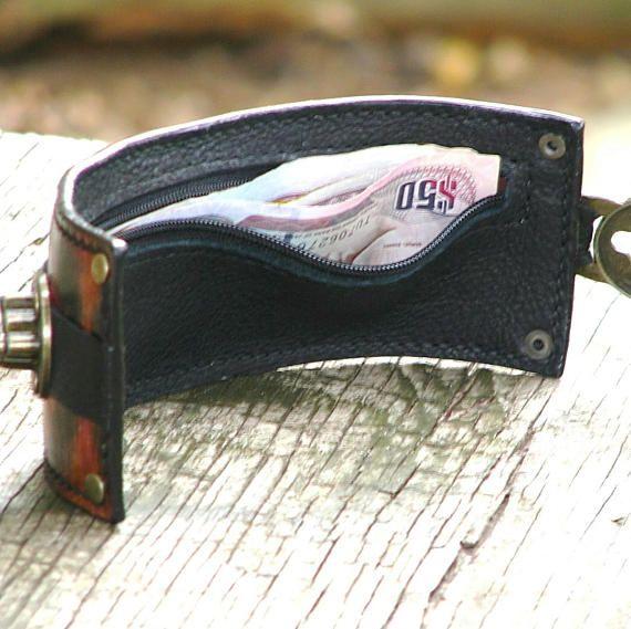 Ikat Steampunk Leather Travel Wrist Wallet Bracele…