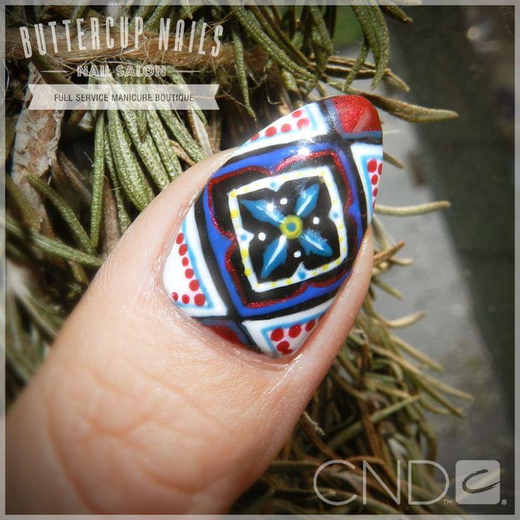 Close up of hand-painted moroccan tile art.    #CND #CNDWorld #CNDShellac #Shellac #nails #nail #nailstagram #naildesign #naildesigns #nailaddict #nailpro  #nailart #nailartist #nailartdesign #nailartofinstagram #nailartdesigns