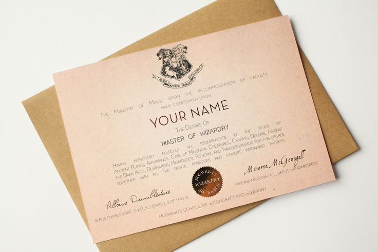 Hogwarts Diploma card Graduation card Harry Potter Card Hogwarts - Custom name Master of Wizardry de la boutique MySweetPaperCard sur Etsy
