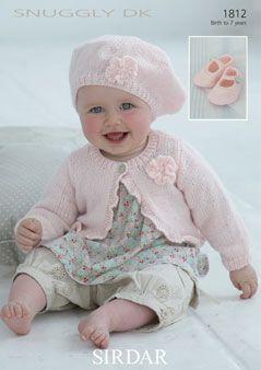 Baby  Toddler Girl DK knit Patterns beret and cardigan jacket  aba01638ba3