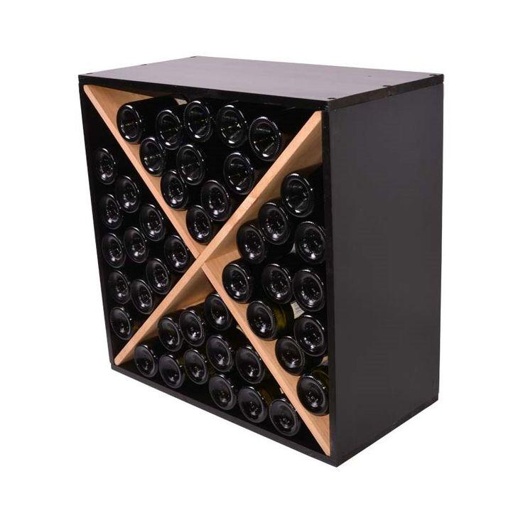 Square Vinreol BONA i egetræ og sort til 40 flasker