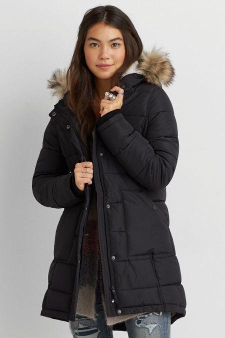 AEO Long Puffer Coat, Women's, Size: XXS, Black