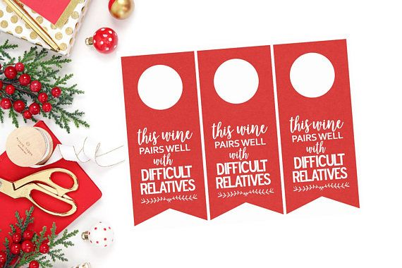 Printable Holiday Wine Tags  Holiday Wine Tags  This Wine