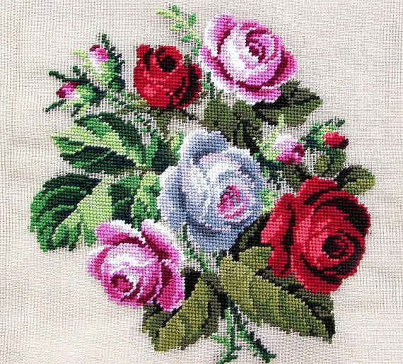 Handmade Needlepoint Cushion Red Rose by GreenCottageCrafts,