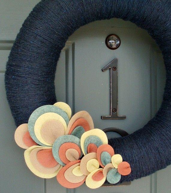 Yarn Wreath Felt Handmade Door Decoration Wave of Dots by ItzFitz