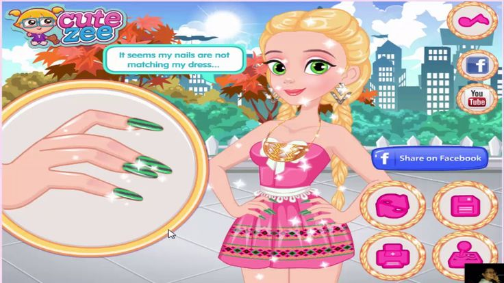 Disney Princess Game Rapunzel Matching Nails And Dress