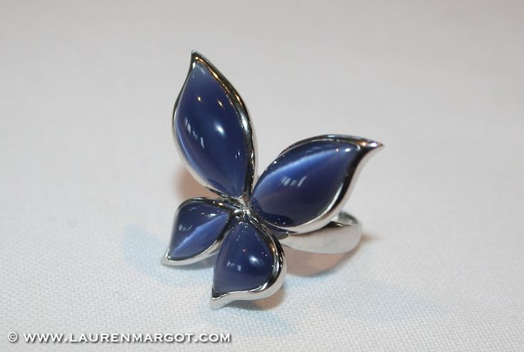 Sterling silver Butterfly ring with blue cats eye.