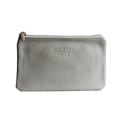 Martha Italian Light Grey Leather Cosmetic/Makeup Bag - £12.99