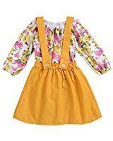 0fcaf35c5582 GRNSHTS Baby Girls Floral Suspenders Pants Set Skirt Set Long Sleeve Romper  + Short Overalls (80 9-12 Months