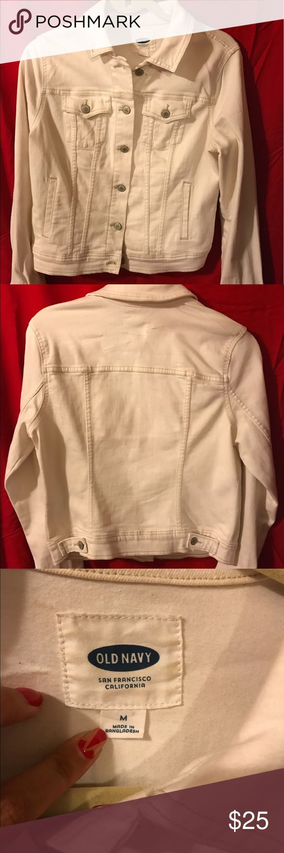 Old Navy Jean Jacket White Jean jacket only worn a few times ! No stains or rips! Women's medium and also has adjustable buttons in the back to adjust fit. Pretty much brand new! 😊 super cute to layer for a chilly night ! Please ask if more pics are needed and feel free to offer!💕 Old Navy Jackets & Coats Jean Jackets
