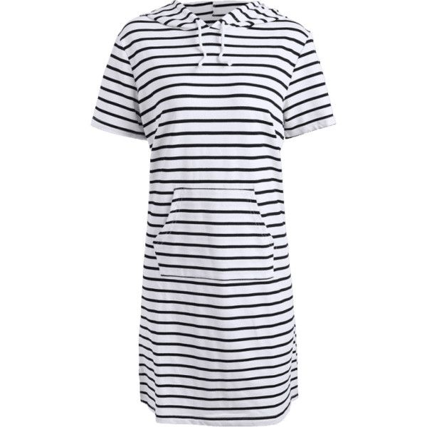 Striped Hooded Plus Size Bodycon Dress ($20) ❤ liked on Polyvore featuring dresses, body conscious dress, body con dresses, white dress, plus size day dresses and white bodycon dress