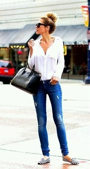 simplicity - top knot, blouse, distorted jeans  flats
