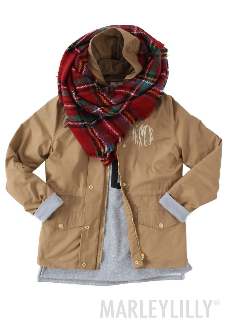 Stay warm & fashionable in a Monogrammed Field Jacket! Only at Marleylilly!