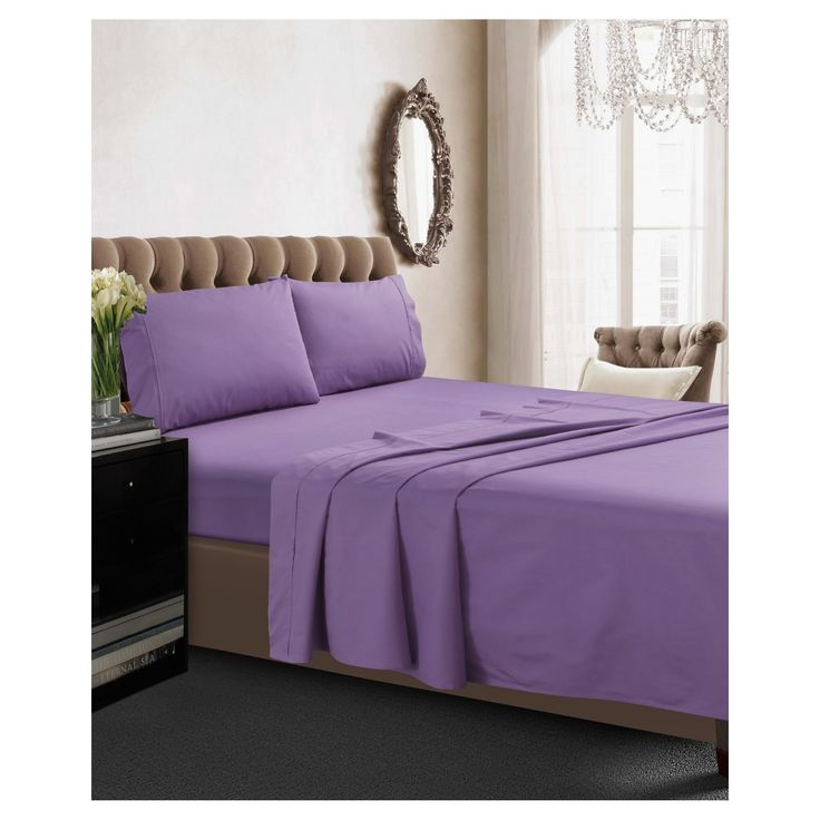 cotton percale deep pocket solid sheet set queen lavender purple 350 thread