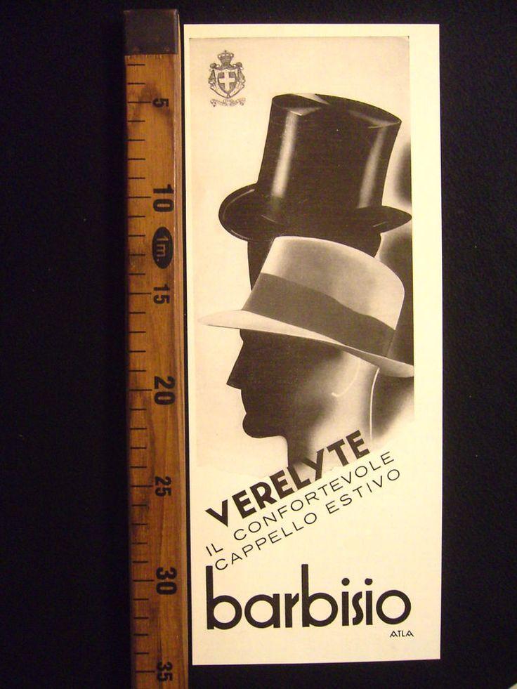 ANNI '30 BARBISIO VERELYTE CAPPELLO UOMO PUBBLICITÀ D'EPOCA ADVERTISING D126