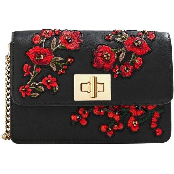 MANGO Floral embroidery bag ($35) ❤ liked on Polyvore featuring bags, handbags, pebbled leather bag, mango handbags, pebbled-leather purses, embellished purse and beaded purse