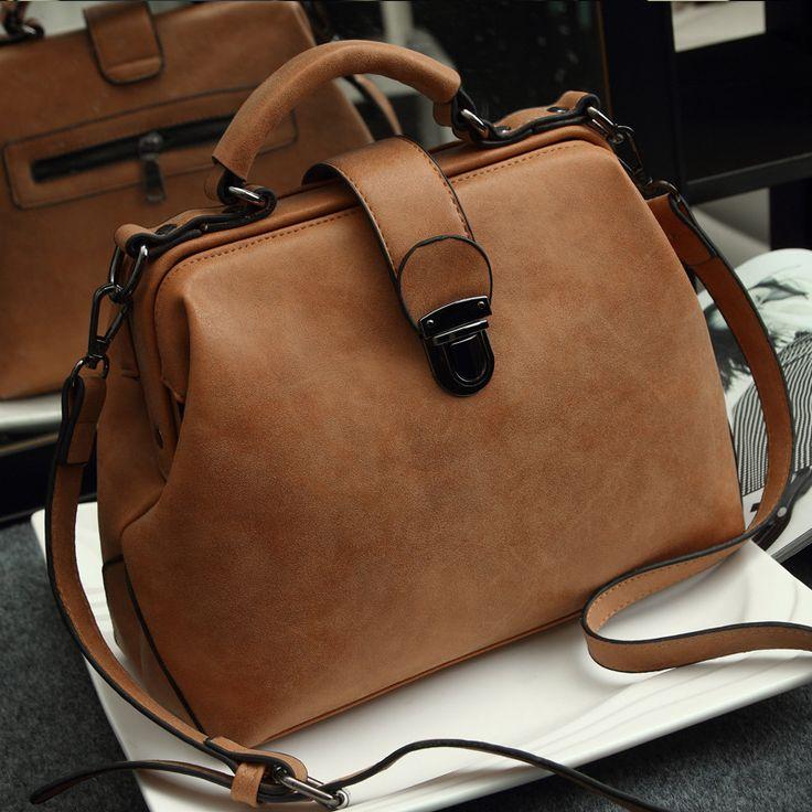 2015 bolsas feminina Retro women messenger bags handbag Doctor bag Fashion brand Shoulder women leather handbags orange bag