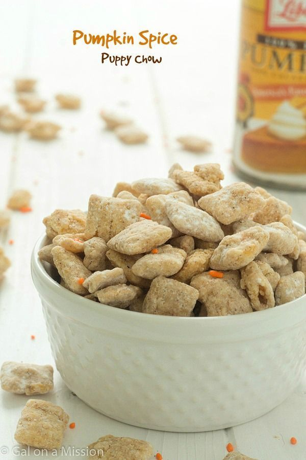 An addicting pumpkin spice puppy chow recipe that is really easy! You will not be able to stop!