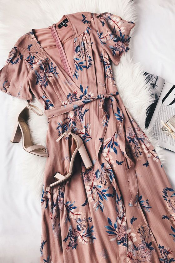 Fiorire Rusty Rose Floral Print Wrap Maxi Dress 2