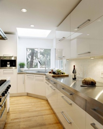 High Gloss White & Stainless Steel - contemporary - kitchen - boston - Venegas and Company