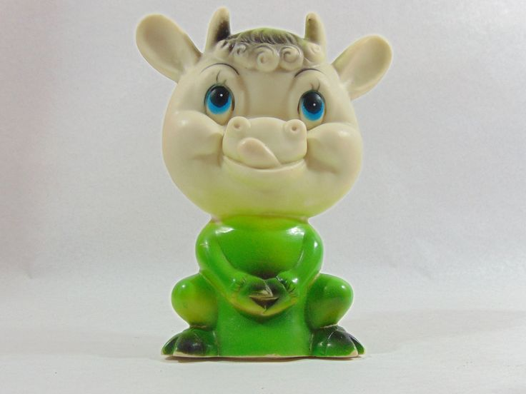 1960s, Baby Toy, Vintage Toys, Vintage Baby Toys, Infant Toys, Green, Squeaker, Squeaky Toy, Squeak Toy, 1960s Toy, Rubber Toy, Cow Toy by DoorCountyVintage on Etsy