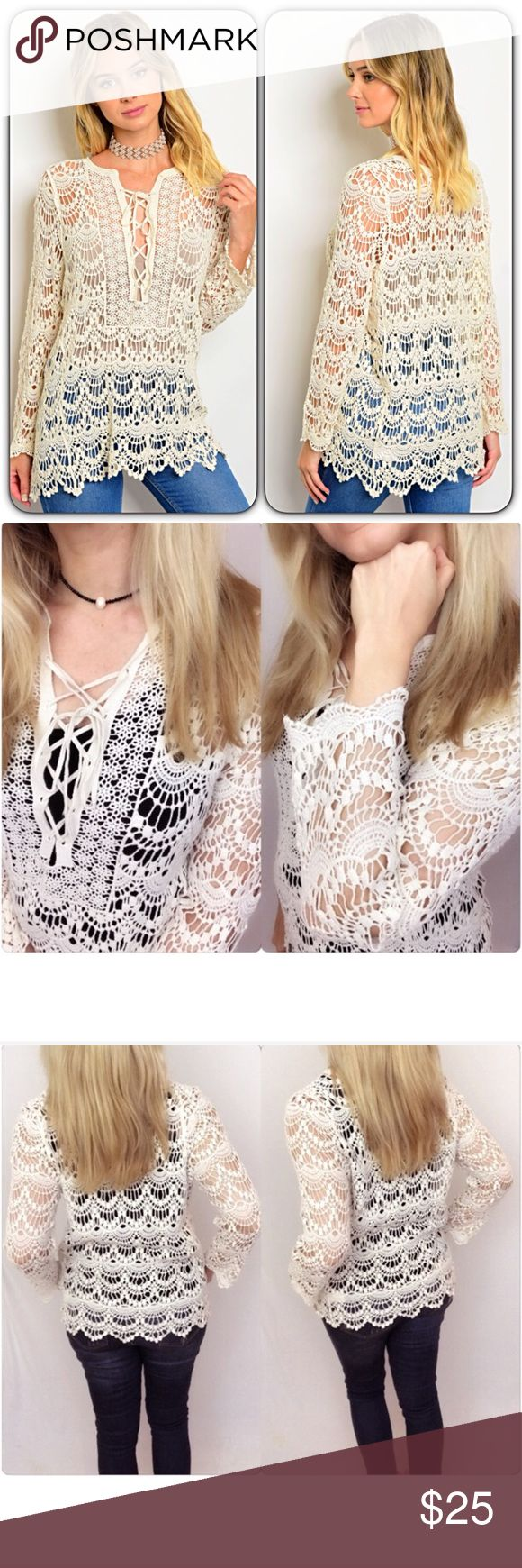 """Stunning Crochet Lace Up Tunic Top 2/4 Small Love this stunning crochet lace cover up top. Great layering piece with cami/tank or even wear as swimsuit coverup. Lace up front mini bell sleeves - Cream 100% Cotton Off White Lace Top scalloped ruffle like hem  Small 2/4 Bust 32-34 Length 27"""" Tops"""