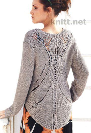 Шикарный вязаный пуловер скрывает в себе загадку, так как спереди все просто и лаконично, а вот сзади открывается приятная неожиданность...