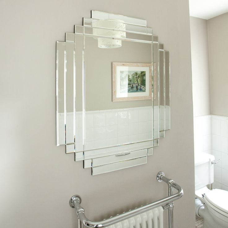 Antique Mirror Wall Over The Sink In A Bathroom Description From Art Deco