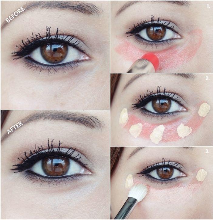 OCULTAR OJOS CANSADOS: En primer lugar, aplicar el maquillaje como de costumbre.A continuación, tomar un bálsamo para los labios teñido de rojo y aplicarlo bajo la mirada desde la esquina interior del ojo al exterior.Aplicar el corrector ahora, en la parte superior de la línea roja.Tome un cepillo redondo y mezclar el corrector por toda la zona debajo de los ojos. El color rojo del bálsamo labial neutralizará la oscuridad bajo el ojo.El corrector debe ser líquido y aceitoso.