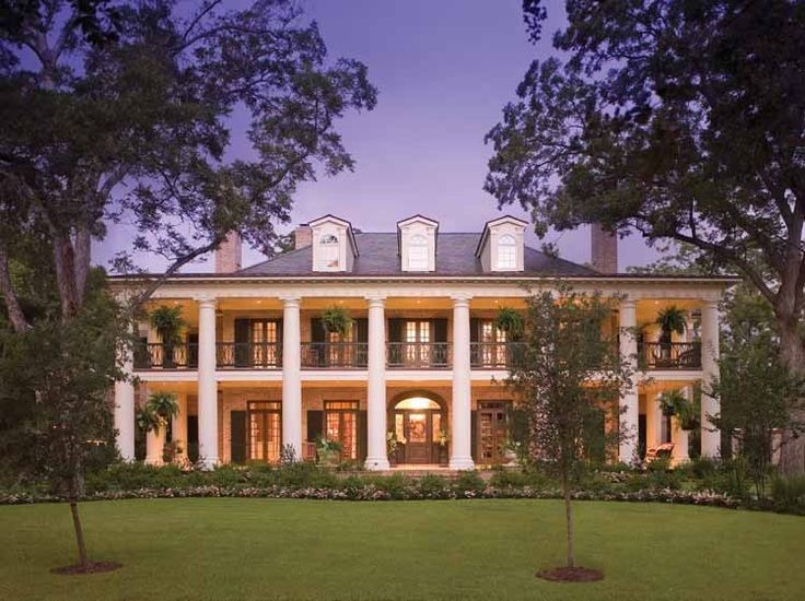my favorite exterior and style of home - plantation-esque, very southern, porches, high ceilings with tall windows and doors, symmetrical, columns, bucolic, dripping with charm