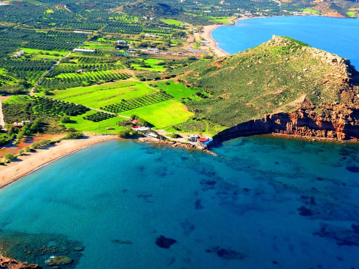Aerial photo, Hiona and Kouremenos  beaches,near to Palaikastro , in the middle of the hill distinguished Petsophas, where the Minoan Peak Sanctuary