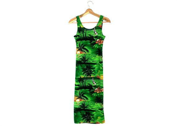 90's Neon Green Slinky Sunset Beach Scene Dress by RIDETHENOWAVE, $22.00
